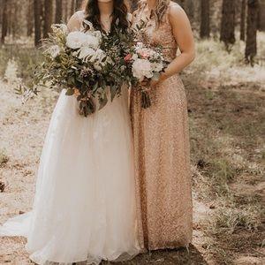 David's Bridal Dresses - David's Bridal Rose Gold Sequin Bridesmaid Dress